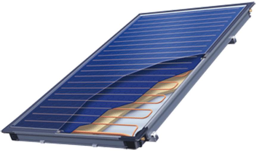 Solarflachkollektor für Brauchwasserbereitung & Heizungsunterstützung